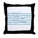 Travel Tag Cloud Throw Pillow