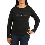 American Flag Chicago Skyline Women's Long Sleeve Dark T-Shirt
