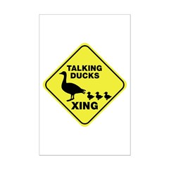 Talking Ducks Crossing Mini Poster Print