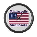 Minneapolis Flag Large Wall Clock