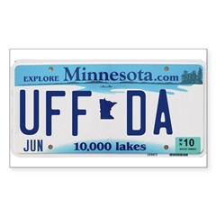 Uffda License Plate Shop Sticker (Rectangle)
