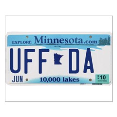 Uffda License Plate Shop Small Poster
