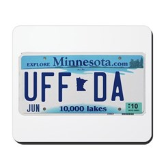 Uffda License Plate Shop Mousepad