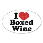 I Heart Boxed Wine Oval Sticker