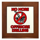 No More Offshore Drilling Framed Tile