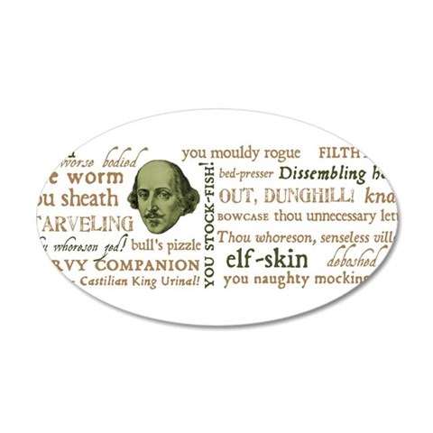 Shakespeare Insults 20x12 Oval Wall Decal