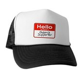 Obama Supporter Name Tag Trucker Hat