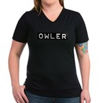 Owler Label Women's V-Neck Dark T-Shirt