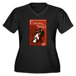 Retro Inspired DWTS Poster Women's Plus Size V-Neck Dark T-Shirt