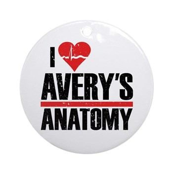 I Heart Avery's Anatomy Round Ornament (Round)