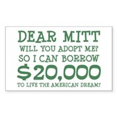 Mitt Will You Adopt Me? Sticker (Rectangle)