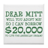 Mitt Will You Adopt Me? Tile Coaster