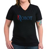 Anti-Romney ROBOT Women's V-Neck Dark T-Shirt