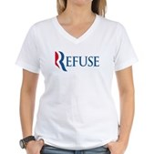 Anti-Romney Refuse Women's V-Neck T-Shirt