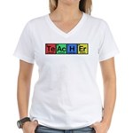Teacher made of Elements colors Women's V-Neck T-Shirt