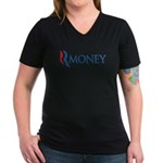 This anti-Romney design is a spoof of the Mitt Romney 2012 campaign logo. Instead of the candidate's name, we have the word RMONEY, which became a popular Internet meme mock campaign photo.