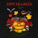 Autumn Leaves Pumpkin Skulls Bats T-Shirt