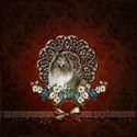 Cute collie with flowers on vintage background T-S