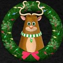 Cute Toon Reindeer in Wreath T-Shirt