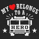 My Heart Belongs to a Hero Women's V-Neck Dark T-S