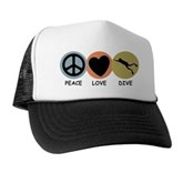 Peace Love Dive Trucker Hat