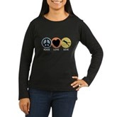 Peace Love Dive Women's Long Sleeve Dark T-Shirt