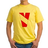 Scuba Flag Letter V Yellow T-Shirt