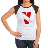 Scuba Flag Letter V Women's Cap Sleeve T-Shirt