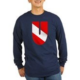 Scuba Flag Letter U Long Sleeve Dark T-Shirt