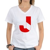 Scuba Flag Letter J Women's V-Neck T-Shirt