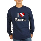 Scuba: I Love Maldives Long Sleeve Dark T-Shirt